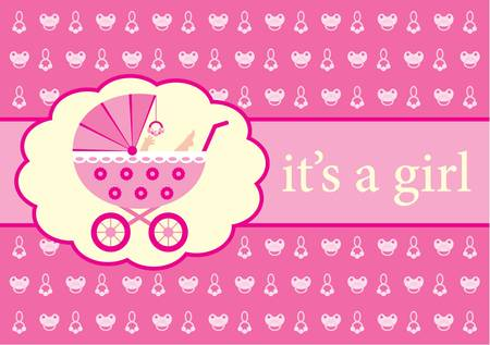 Baby girl arrival announcement card.