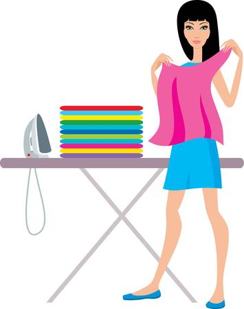 Young  woman irons clothes