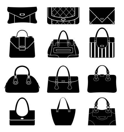 Illustration pour Black icons female bags - image libre de droit