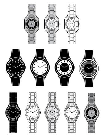 Set of black icons with the image of a female watch