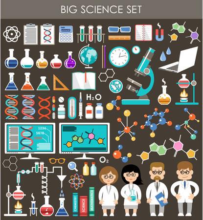 Ilustración de Big science set. Infographics. - Imagen libre de derechos