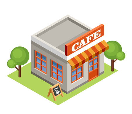 Image isometric cafe, standing on the grass. Vector illustration