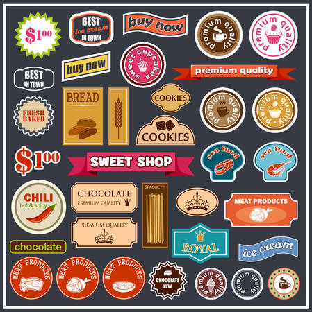Set of labels and stickers for food. Vector illustration