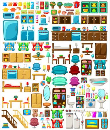 Illustration pour Big set of furniture on a white background. Vector illustration - image libre de droit