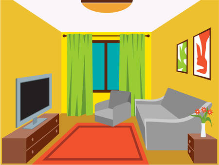 Illustration pour Living room with furniture. Vector illustration - image libre de droit
