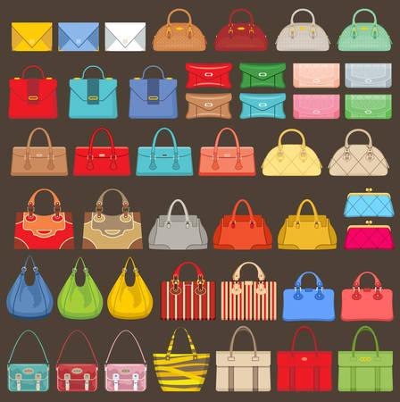 Illustration pour Big set of bags on a brown background. Vector illustration - image libre de droit