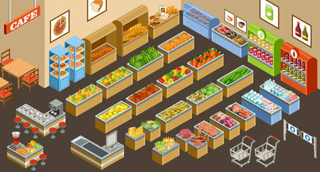 Illustration for Vector illustration of a supermarket. Sale of fruit, vegetables, milk, meat and fish. Cafe. Coffee and juice. - Royalty Free Image