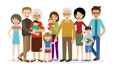 Photo for Big family on a white background - Royalty Free Image