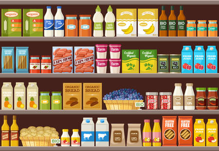 Illustration for Shop of organic products. Supermarket. Vector illustration - Royalty Free Image