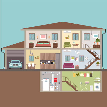 Illustration for House in cut. Interior. Vector Illustration - Royalty Free Image