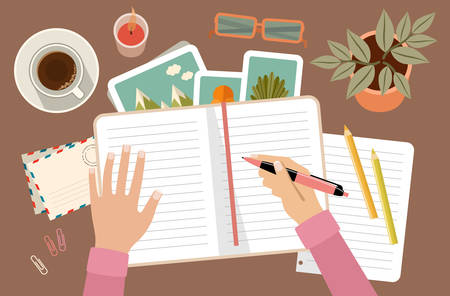 Illustration pour Woman s hands holding pen and writing in diary. Personal planning and organization. Workplace. Vector flat illustration - image libre de droit