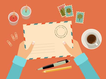 Illustration pour Hands holding envelope with stamps. Stationery. Top view. Sending written letter through postal service. Vector flat illustration  - image libre de droit
