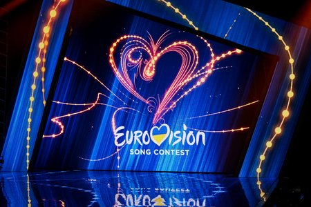 KYIV, UKRAINE - FEBRUARY 10, 2018: Scene with Logo Eurovision during national selection during the Eurovision-2018 from Ukraine