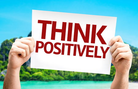 Think Positively card with a beach on background