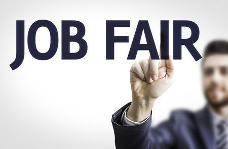 Business man pointing the text Job Fair