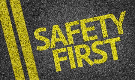 Photo pour Safety First written on the road - image libre de droit