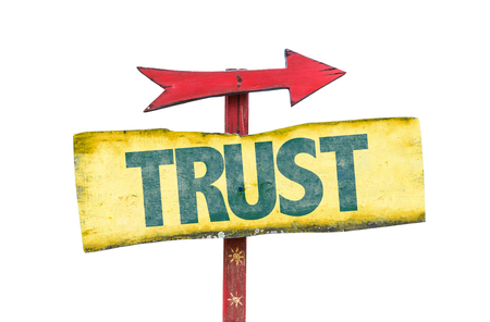 Trust sign with arrow on white background