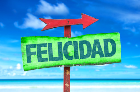 Happiness in Spanish on sign with arrow on beach background