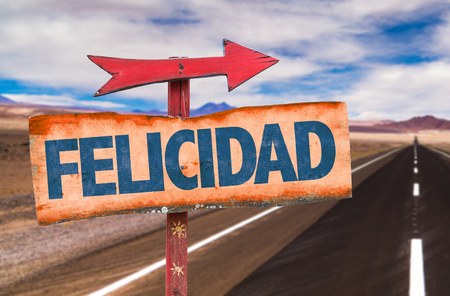Happiness in Spanish on sign with arrow on a highway background