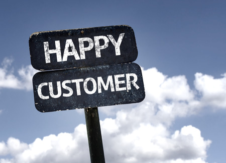 Photo for Happy Customer sign with clouds and sky background - Royalty Free Image