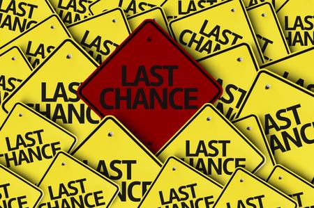 Photo pour Multiple road signs with text: Last Chance - image libre de droit