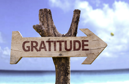 Photo for Gratitude sign with arrow on beach background - Royalty Free Image