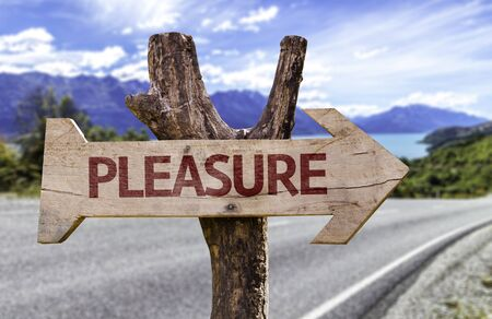 Pleasure sign with arrow on road background