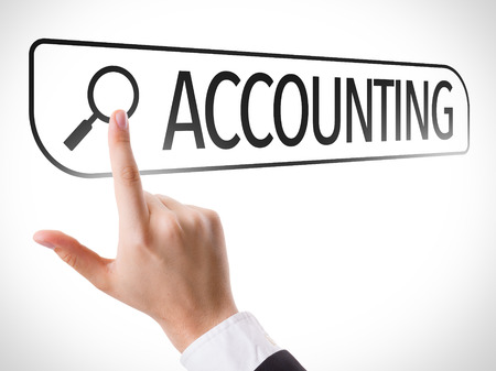 Hand searching online on white background with text: Accounting