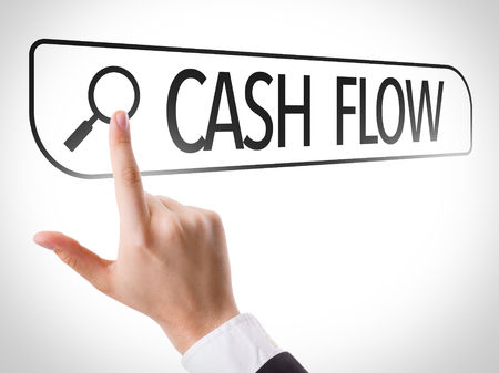 Hand searching online on white background with text: Cash flow