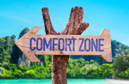 Photo for Comfort zone sign with arrow on beach background - Royalty Free Image