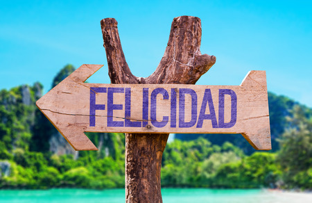 Felicidad (happiness in Spanish) sign with arrow on beach background
