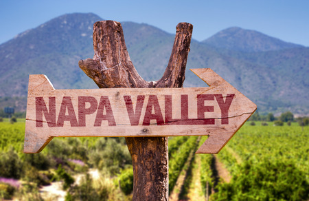 Wooden sign board in park with text: Napa Valley