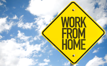 Work From Home sign with sky background