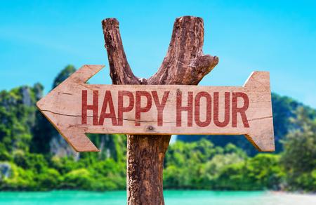 Happy Hour arrow with beach background