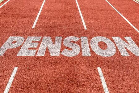 Photo pour Running track with the word Pension - image libre de droit