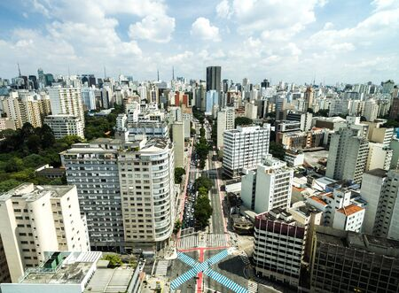 Photo pour Aerial view of Consolacao Avenue Sao Paulo, Brazil - image libre de droit
