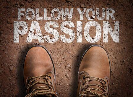 Photo pour Boots on the trail with the words Follow Your Passion - image libre de droit
