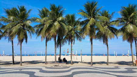 Photo for Coconut trees on Copacabana beach Rio de Janeiro Brazil. - Royalty Free Image