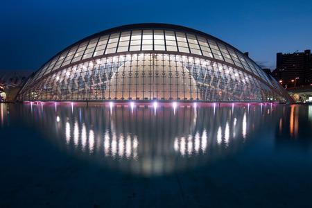 Valencia, Spain - April 28, 2019: Ciudad de las artes y las ciencias (City of Arts and Sciences), designed by the Spanish architect Santiago Calatrava in Valencia (Spain)
