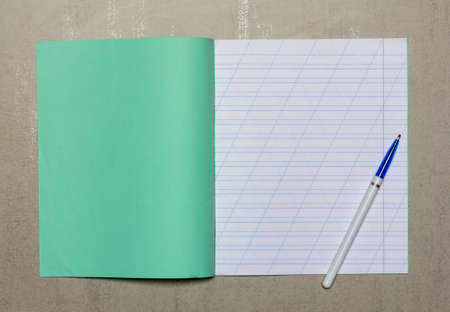open school notebook in a narrow line with slash for learning spelling mock up with copy space and ballpoint pen on grey background, top view