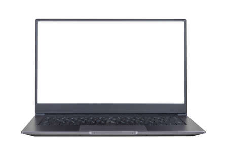 Foto de white mock up on laptop screen isolated on white background close up front view - Imagen libre de derechos