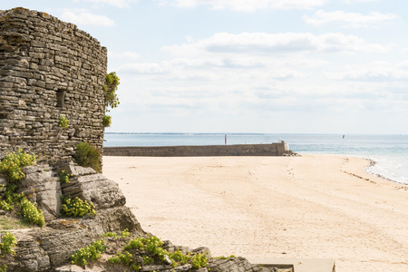 the empty Beach of Barneville Carteret, France, Normandy