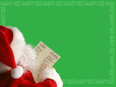 Santa Claus reads the list of who's been nauty or nice