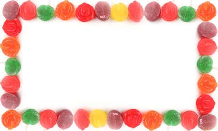 various rainbow colored  hard lollipop candy border or frame