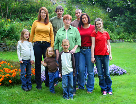 mother and grandermother with her children and grandchildren, three generations