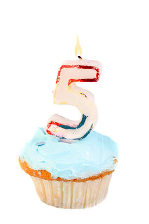 fifth birthday cupcake with blue frosting on a white background