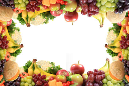 Border or frame of colorful fruits and vegetables like grapes, bananas, and cauliflower on a white backgroundの写真素材