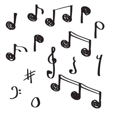 Illustration pour unique hand drawn doodle note music vector illustration - image libre de droit