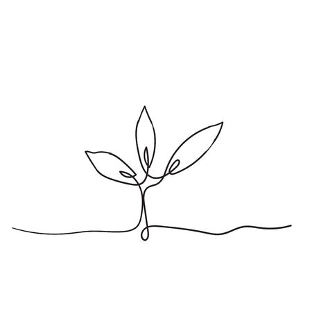 Illustration for Single continuous line art growing sprout handdrawn doodle style - Royalty Free Image