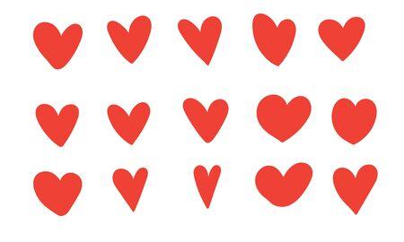 Photo pour doodle heart illustration vector red color style - image libre de droit